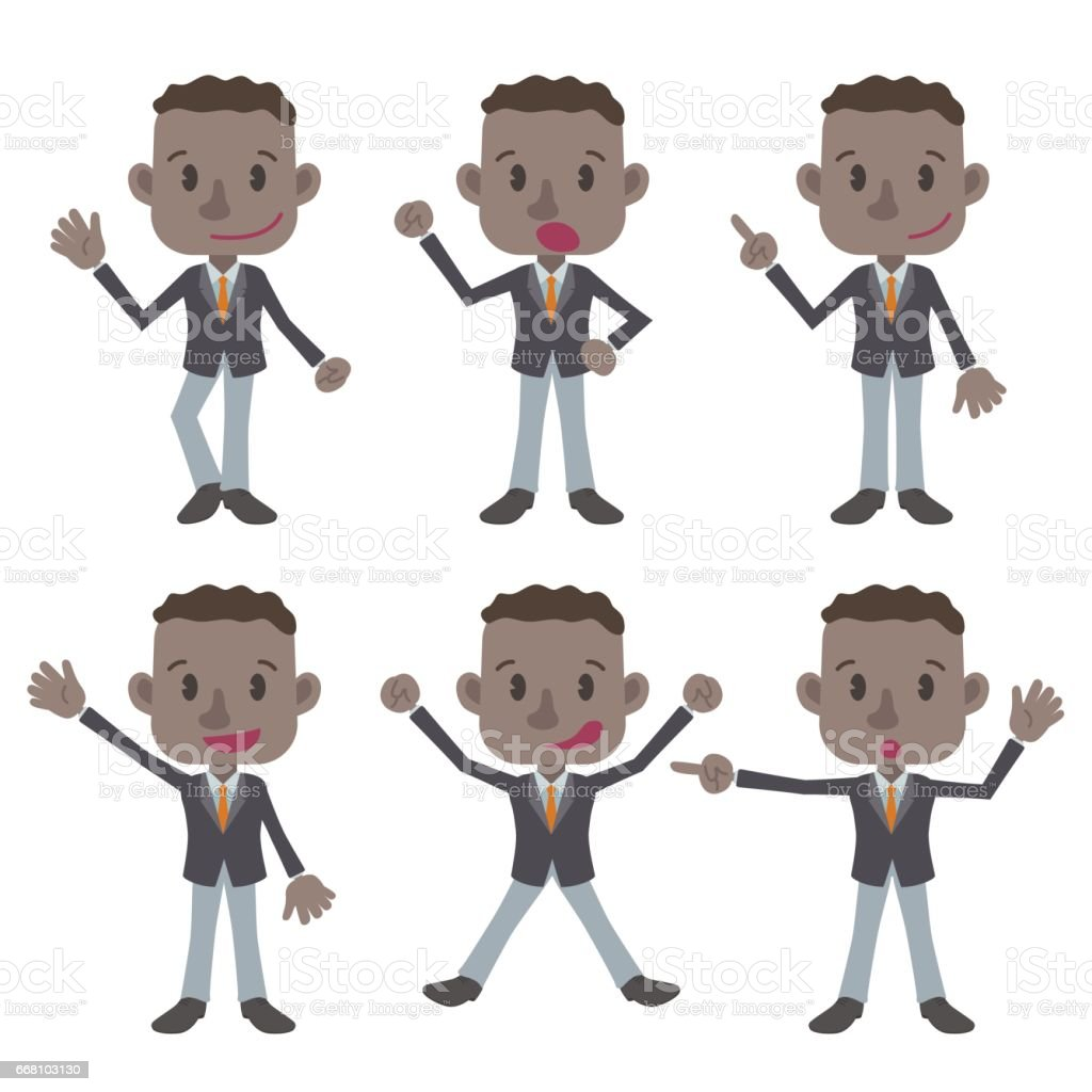 young colored business person character various pose clip art set, vector illustration vector art illustration