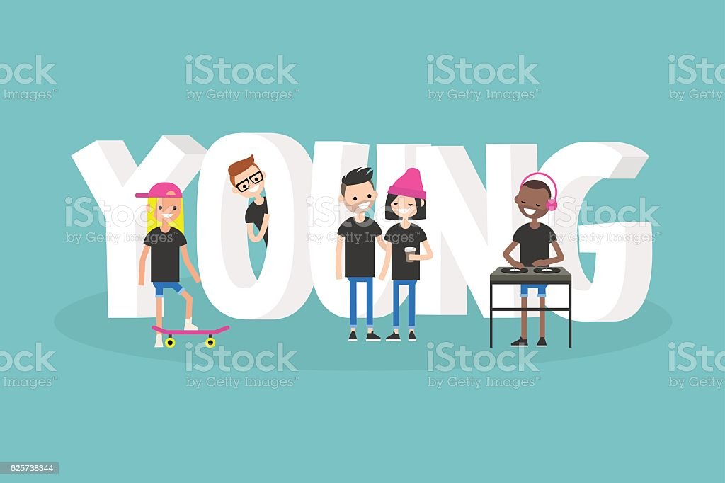 Young. Conceptual illustrated 3d sign vector art illustration