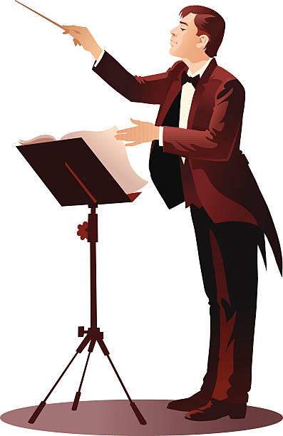junge dirigent durchführung der orchestra - bandleader stock-grafiken, -clipart, -cartoons und -symbole