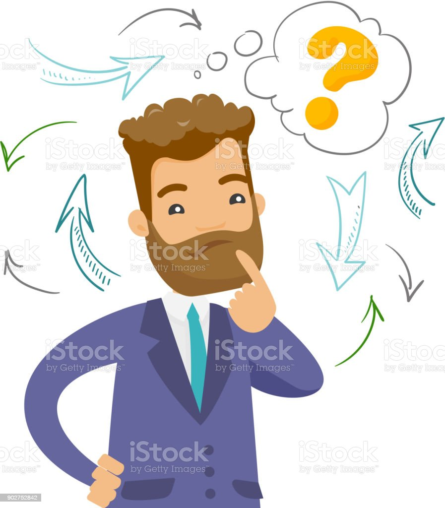 Young confused caucasian business man thinking vector art illustration