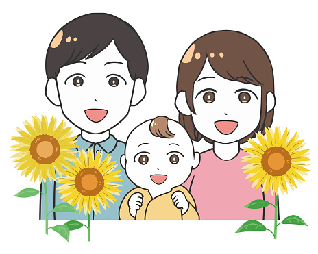 Young couple and baby sunflower