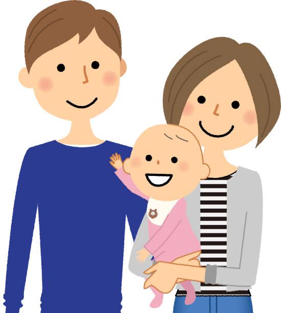 若いカップルと赤ちゃん - 家族 日本人点のイラスト素材/クリップアート素材/マンガ素材/アイコン素材