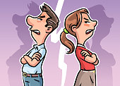 Vector illustration of a young couple standing back to back with arms crossed, arguing. Concept for relationship issues, anger, divorce, breaking up and communication problems.