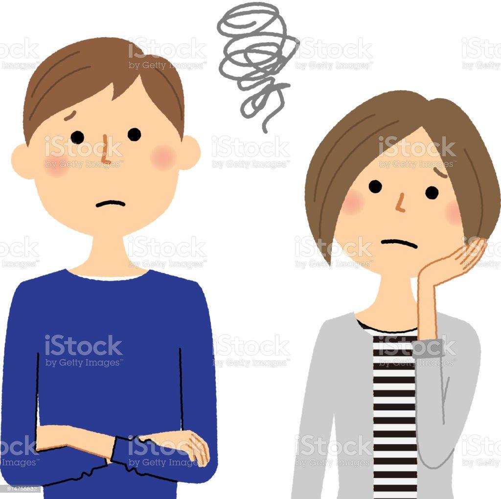若いカップルは、ある問題を抱えた - イラストレーションのロイヤリティフリーベクトルアート