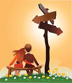 Vector illustration of a young couple sitting on the bench under a crossroad sign and contemplating about their future life together. Separate layers for easy editing. High resolution JPG and Illustrator 0.8 EPS included.