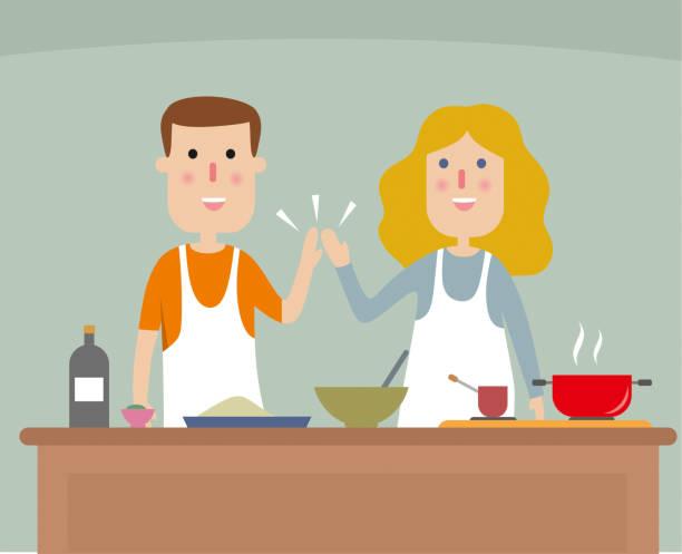 bildbanksillustrationer, clip art samt tecknat material och ikoner med ungt par matlagning middag - arbeta köksbord man