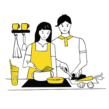 Young couple cooking together in the kitchen. Woman cooks spaghetti for pasta, man chops vegetables. Love and relationships, household chores together. Line art, vector illustration