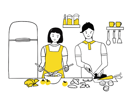 Young couple cooking together in the kitchen. Woman stirring salad, man chopping vegetables. Love and relationships, household chores together. Line art, vector illustration