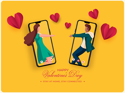 Young Couple Dancing Or Interacting Through Video Call With Paper Hearts On Yellow Background For Happy Valentine's Day, Stay At Home.