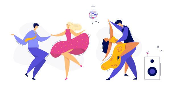 stockillustraties, clipart, cartoons en iconen met jonge paar dansende swing, tango, pop. nacht club disco party met mannelijke en vrouwelijke danseres personages set. vector platte cartoon illustratie - jonge mannen