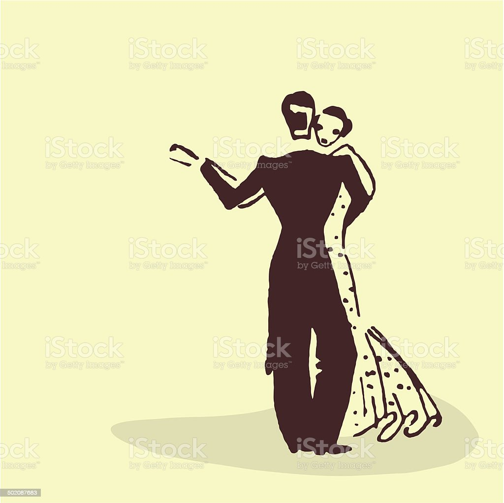 Young couple dancing the waltz vector art illustration