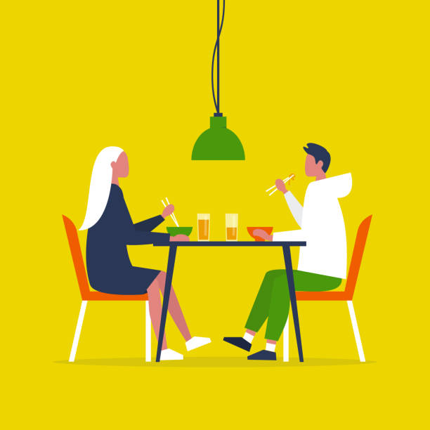 junges paar isst ramen mit der chopstik. datum. restaurant. alltag. flache vektorillustration, clip-kunst - essen mund benutzen stock-grafiken, -clipart, -cartoons und -symbole