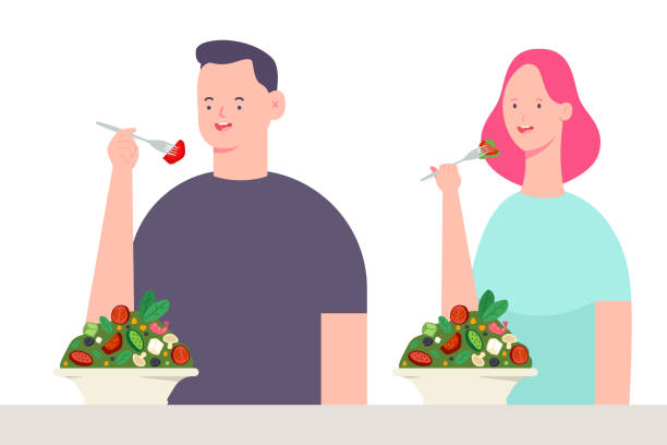 ilustrações de stock, clip art, desenhos animados e ícones de young couple eating salad. vector cartoon character of man and woman. healthy food illustration isolated on white background. - eating