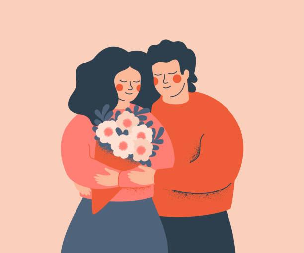 ilustrações, clipart, desenhos animados e ícones de os pares novos abraçam-se com amor e cuidado. conceito do dia do valentim e do dia da família - couple