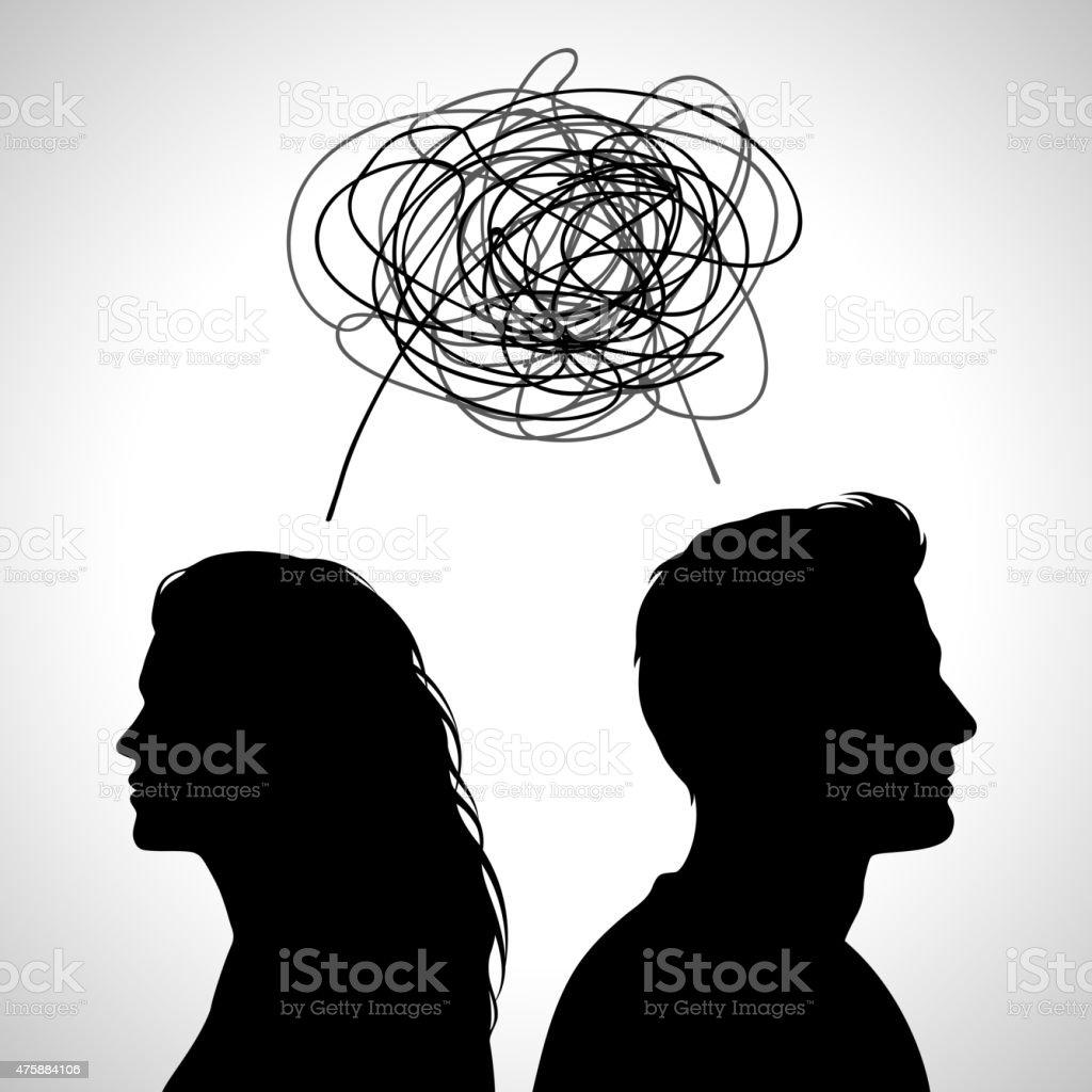 Casal jovem luta - ilustração de arte em vetor