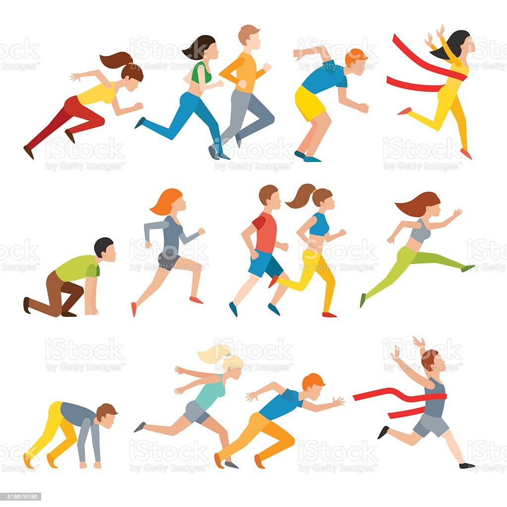 Young couple group running marathon run man sprinting vector vector art illustration