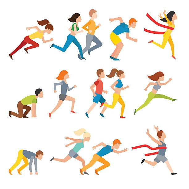 młoda para biegania maraton grupa biegać człowiek sprint wektor - ludzka noga stock illustrations