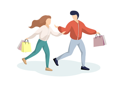 Young couple guy and girl have fun running in supermarket with shopping bags. Happy man and woman in store with purchases. Holiday sales shop retail consumer concept vector illustration