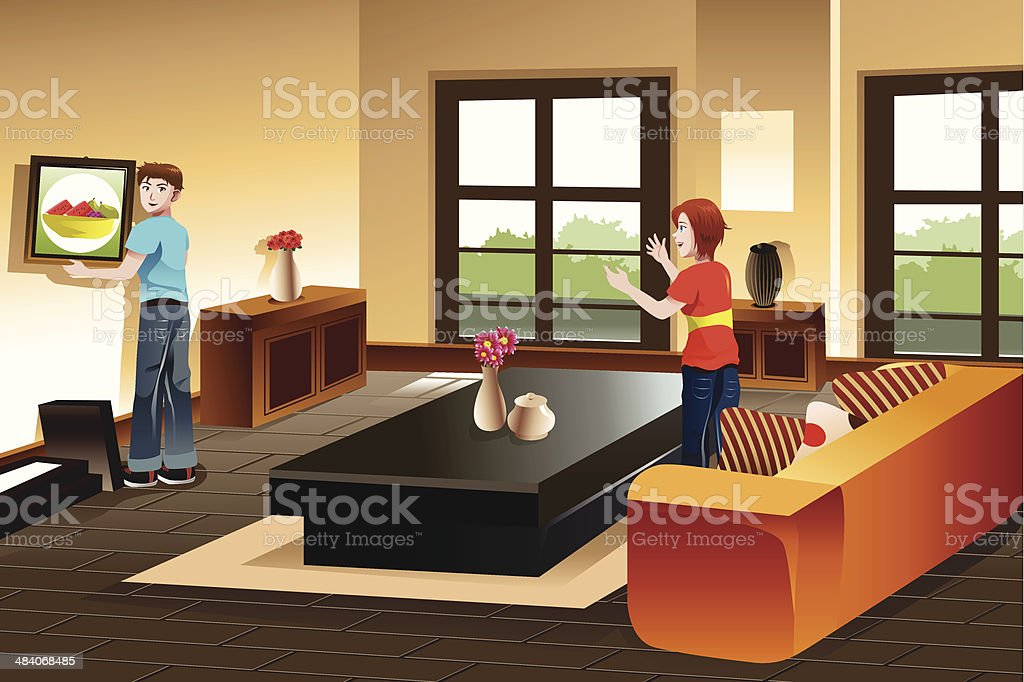Young couple hanging a painting vector art illustration