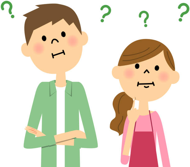 Young couple harbor doubts vector art illustration