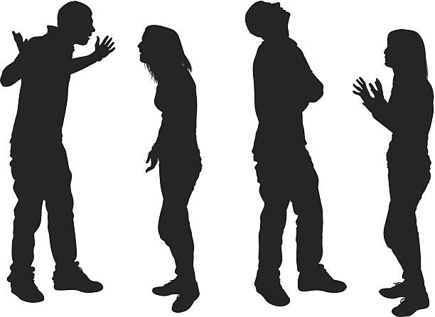 stockillustraties, clipart, cartoons en iconen met young couple having an argument - mot