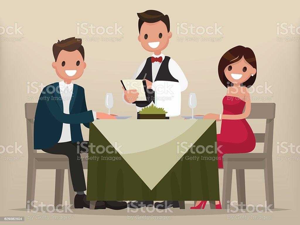Young couple having dinner in a restaurant. vector art illustration