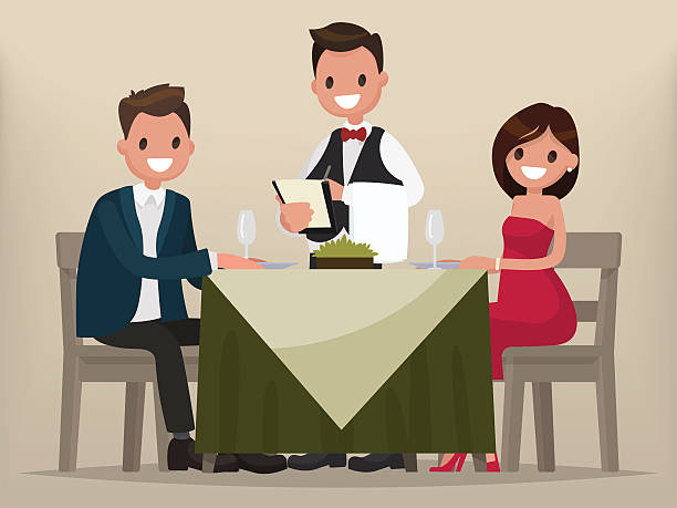 Young couple having dinner in a restaurant. vector art illustration