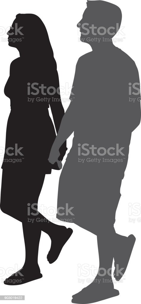 Young Couple Holding Hands Walking vector art illustration