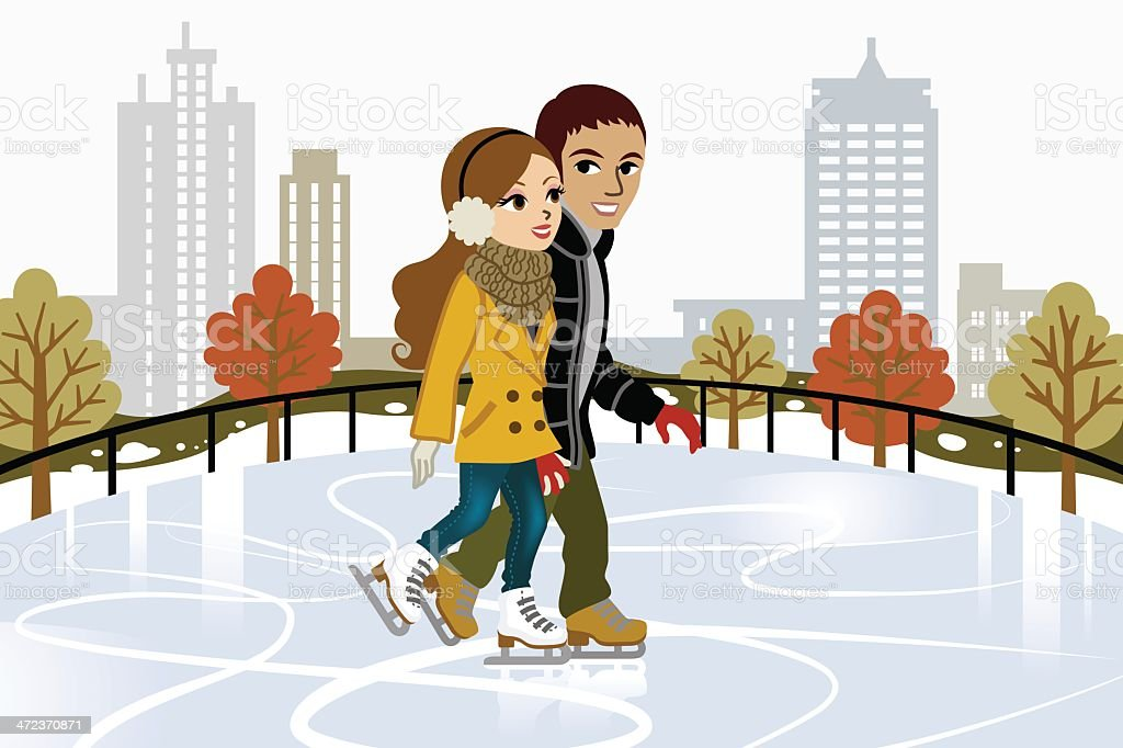 Young couple Ice Skating in city royalty-free young couple ice skating in city stock vector art & more images of adult
