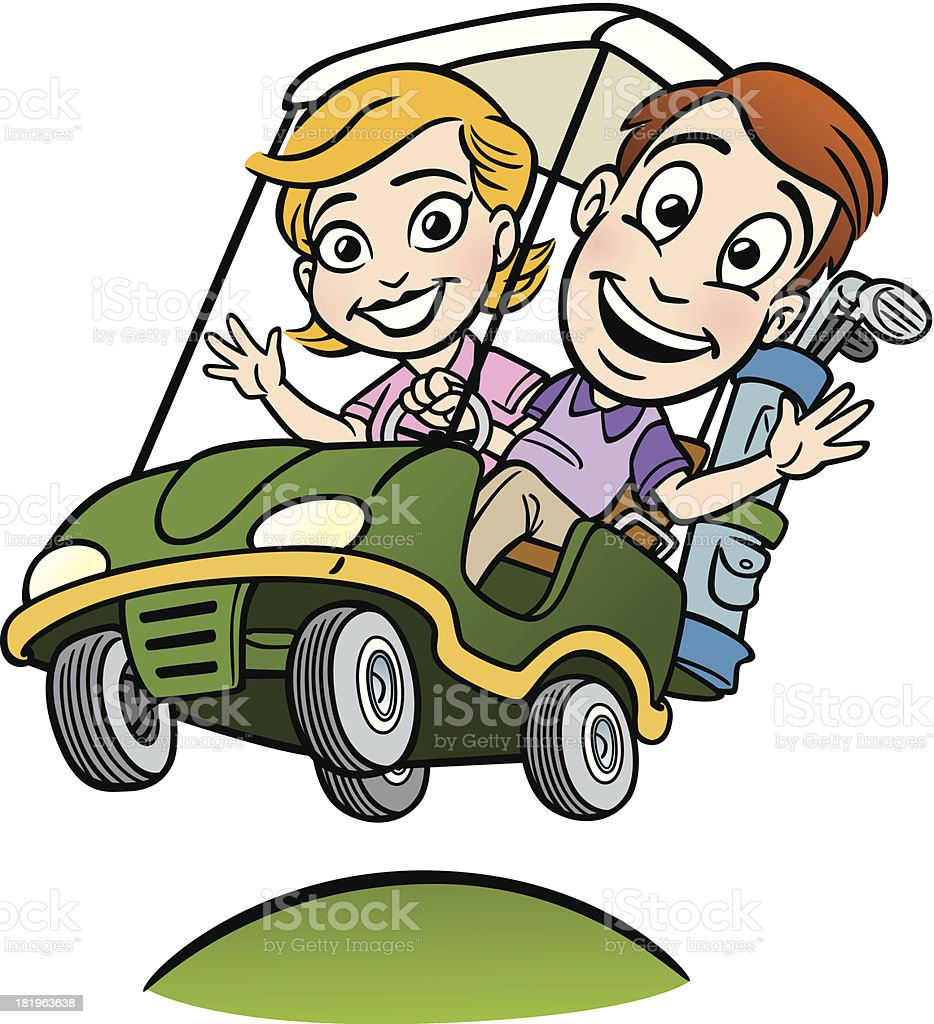 Young Couple In Golf Cart vector art illustration