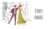 A young couple in love. Man and woman dancing in the street of the old town. Vector illustration.