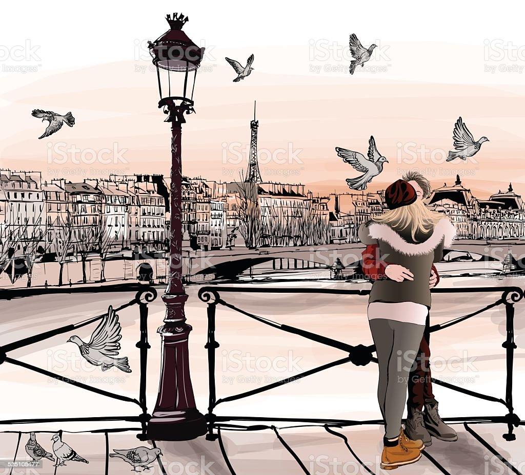 Молодая пара в любви на Pont des Ремесла в Париже векторная иллюстрация