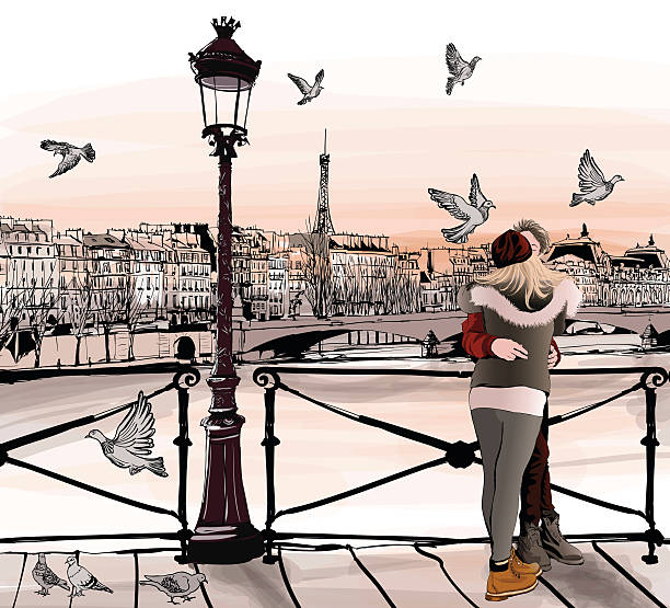 Young couple in love on Pont des arts in Paris vector art illustration