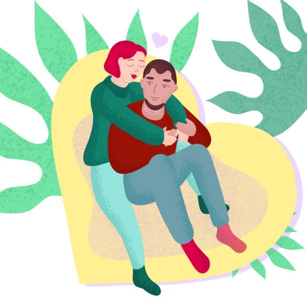 junges paar in liebe-vektor-illustration - herzkissen stock-grafiken, -clipart, -cartoons und -symbole