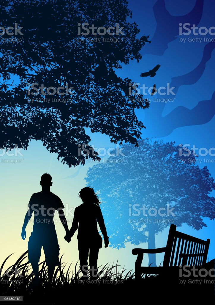 Young Couple in Park royalty-free stock vector art