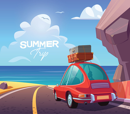 Young couple in red car on summer trip vector illustration