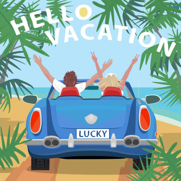 Young couple in retro cabriolet car on beach Young couple sitting in retro cabriolet car with raised open arms outstretched, on beach near ocean. Back view. Lettering Hello Vacation. Simplistic realistic style convertible stock illustrations