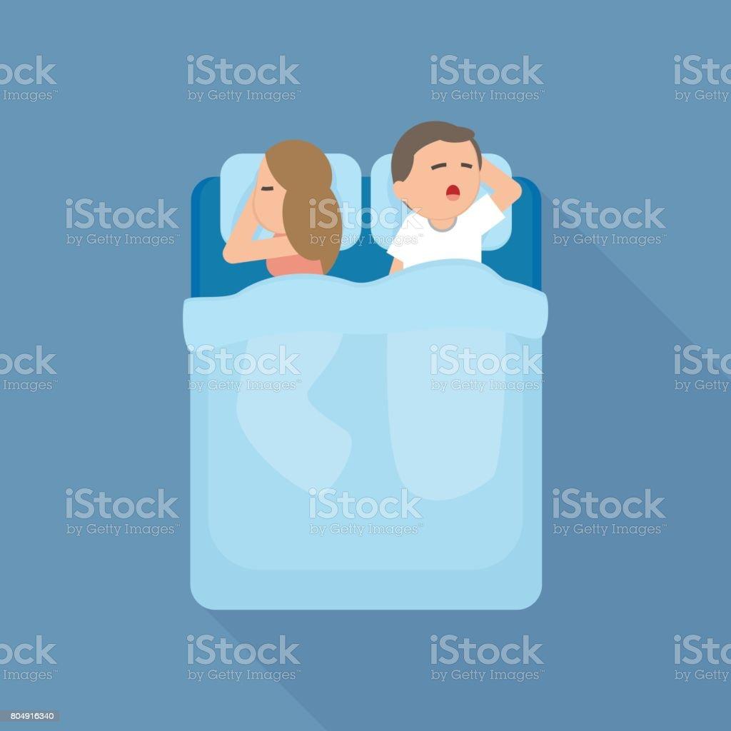 若いカップルの男と女が一緒にベッドで寝ていますベクトル漫画の