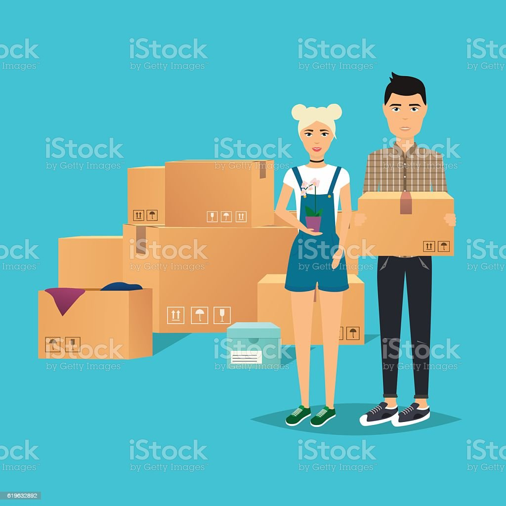Young Couple Moving. Box for moving, open box. Flat design vector art illustration