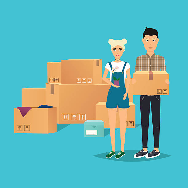 young couple moving. box for moving, open box. flat design - new home stock illustrations, clip art, cartoons, & icons