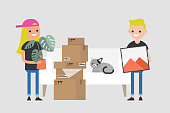 Young couple moving to a new apartment. Relocation. Mortgage. Flat editable vector illustration, clip art