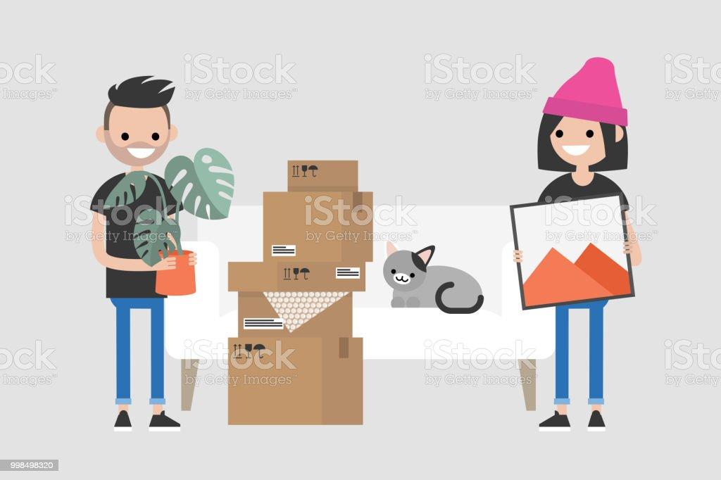 若いカップルは、新しいアパートに移動します。移転。住宅ローン。フラット編集可能なベクトル イラスト、クリップアート ベクターアートイラスト