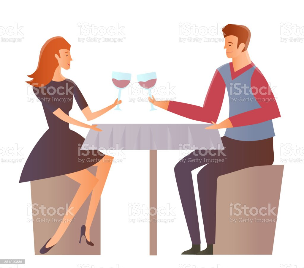 Young couple on a date at the restaurant. Man and woman drink wine at a romantic dinner. Vector Illustration, isolated on white background. royalty-free young couple on a date at the restaurant man and woman drink wine at a romantic dinner vector illustration isolated on white background stock vector art & more images of 20-29 years