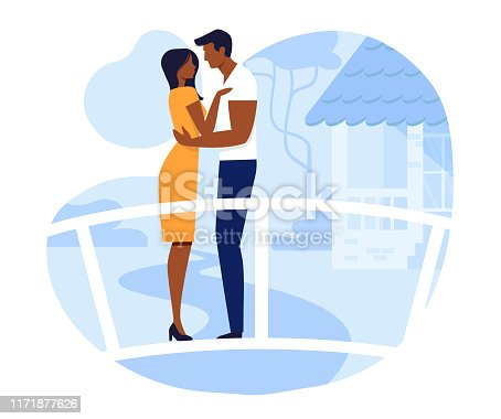 Young Couple on Romantic Date Vector Illustration. Happy Girlfriend and Boyfriend Cartoon Characters. Man and Woman Meeting in Park. Amorous Relationship, Dating. Lovers Standing on Bridge