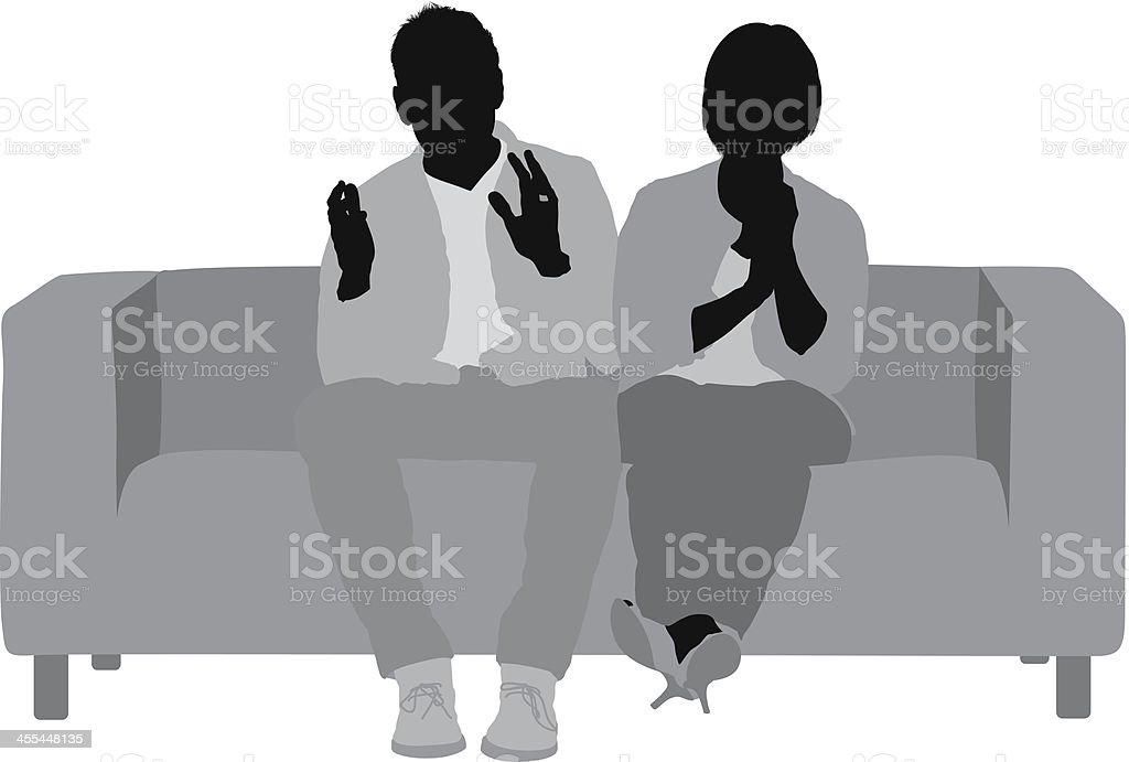 Young couple on sofa royalty-free stock vector art