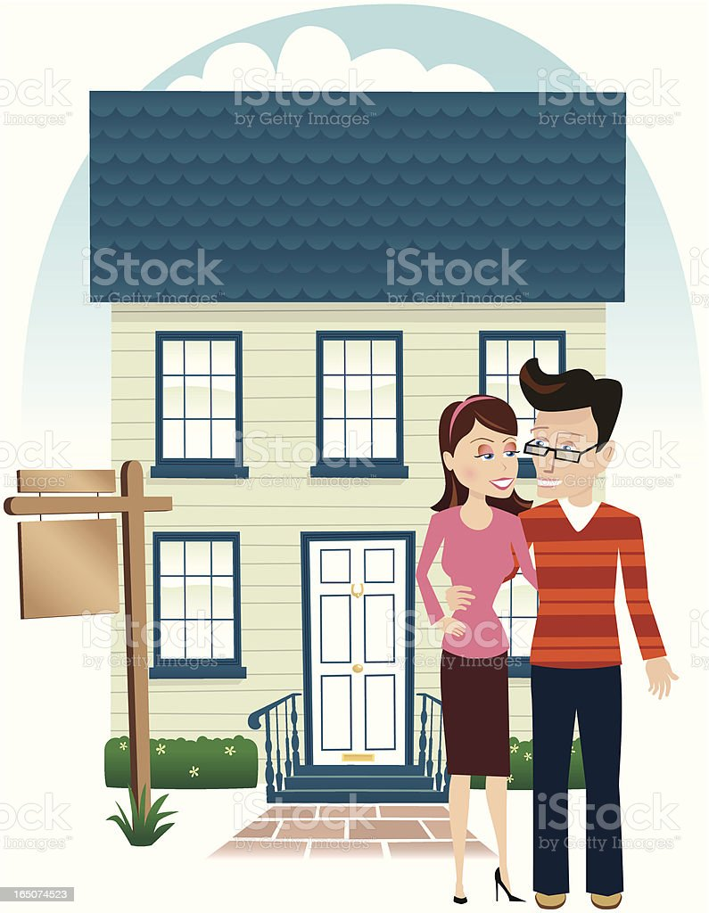 Young couple outside their new home vector art illustration
