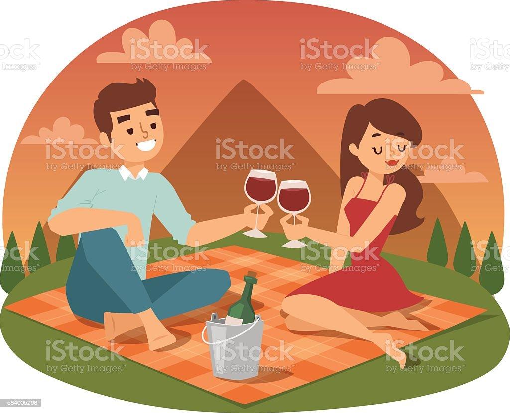 若いカップルピクニック夏のベクトル のイラスト素材 584005268 | istock