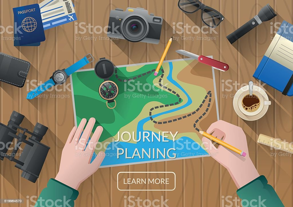 Молодая пара планировании медового месяца отпуска путешествие с карты. векторная иллюстрация