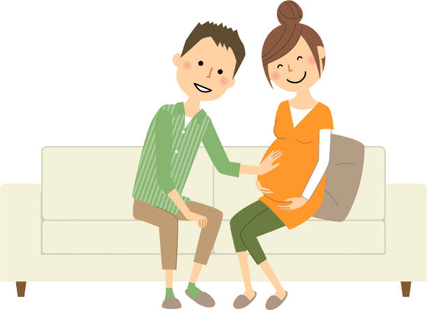 Young couple, Pregnant woman - illustrazione arte vettoriale