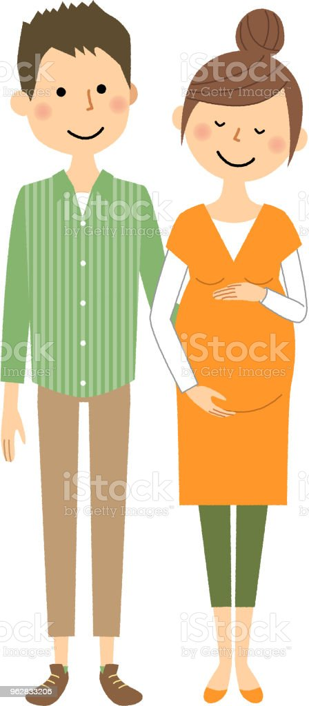 Young couple, Pregnant woman - arte vettoriale royalty-free di Adulto